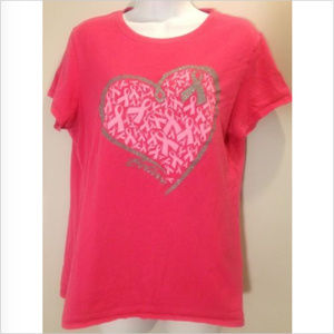 Tops - Believe Breast Awareness L Pink & Silver T-Shirt